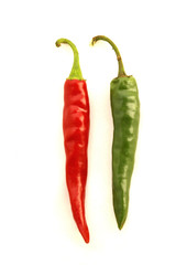 red & green chili peppers