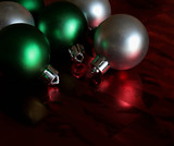 green and silver shiny balls poster