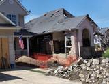 house damaged by hurricane katrina poster