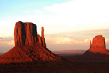 west and east mittens at sunset, monument valley poster