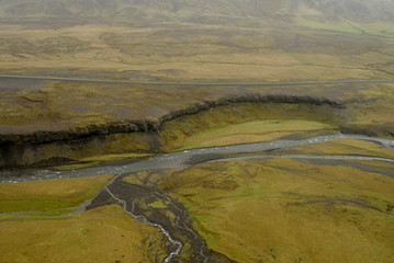 aerial view to tectonical fault