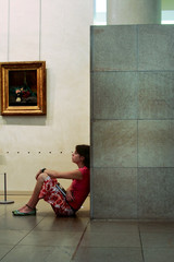a girl in a gallery