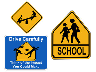 warning children signs school, drive carefully and