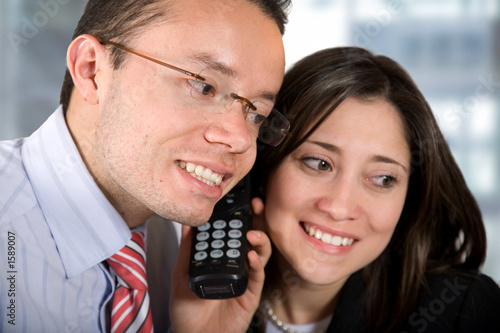 business partners - good news on the phone
