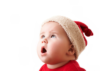 christmas child in a red hat 2