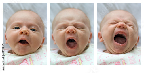 yawning infant - triptych
