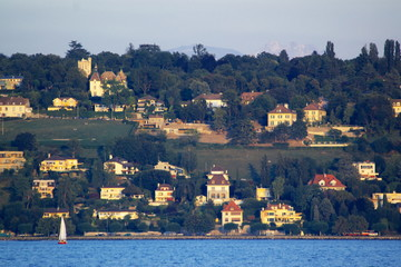 private houses on a lake coast