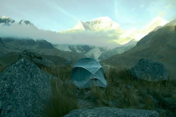 tent in the cordilleras mountain