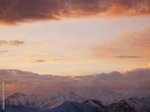 sunset in the caucasus mountain