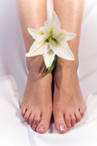 girl feet and madonna lily poster