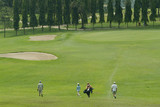 golf players walking towards the green poster