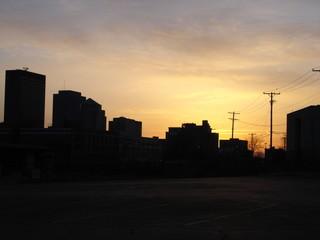dayton, ohio skyline at dusk