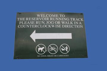 central park reservoir running track sign