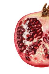 half pomegrante isolated