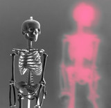 skeleton with red shadow negative radioactive nucl poster