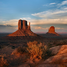 west and east mittens at sunset, monument valley