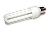 energy-saving lamp at white poster