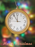 merry christmas! clock (5 minutes to 12) poster