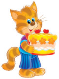 kitten with a celebratory pie poster