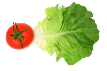 salad leaf and tomato