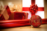 red christmas wrappings/ soft focus filter poster