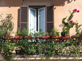 beautiful balcony with flowers poster
