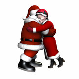santa and mrs claus hugging - isolated poster