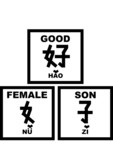 chinese words -good is man plus woman(bible) (b&w) poster
