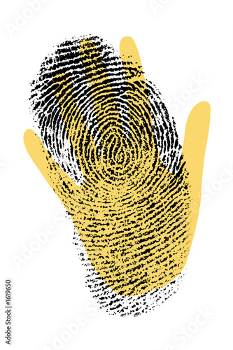 biometric security hand with finger print