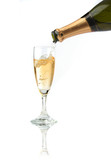pouring a champagne flute poster