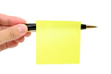 blank notepaper stick on a pen poster