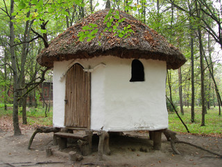 white small rural  log-house in a park