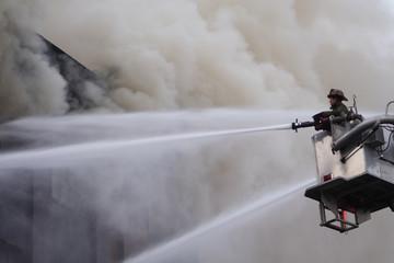 fireman on the ladder