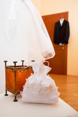 bridal dress and groom suit