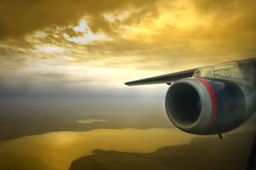 jet engine sunset