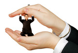 business man protected by hands poster