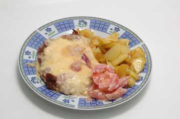 roast meat with cheese