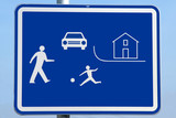 road traffic children beware sign in white against blue poster