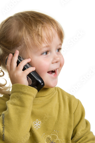 child talking by mobile phone