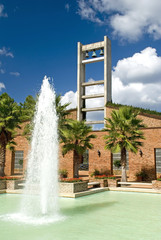 bell tower and fountain