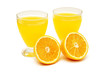 two glasses of orange juice and orange isolated on