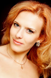 portrait of redhead beautiful woman poster