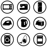 home appliance icons set poster