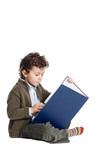 adorable boy reading a book poster
