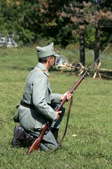 soldier in defence position