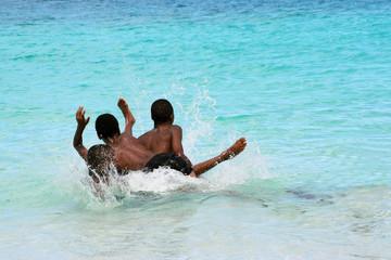 local teens at island beach