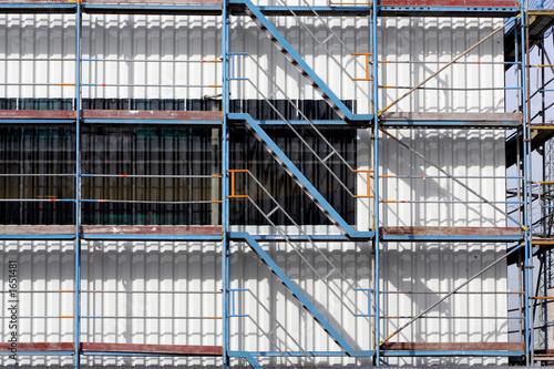 Leinwanddruck Bild treppe bei gerüstbau