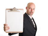businessman holding clipboard poster