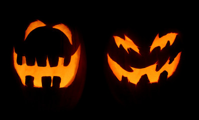 two scary pumpkins