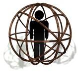 rusted globe atomic man poster